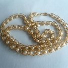 Vtge Napier Signed GoldTone Choker Necklace Chain Link w Enclosed Faux Pearls on