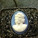 Vintage Cameo Shoe Clips Blue with White Cameo Very Nice