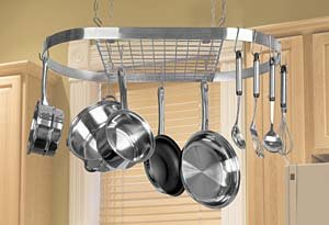 Large Stainless Steel Oval Pot Rack