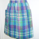 Vintage Half Apron Handmade Cotton Blue Multi Color Plaid