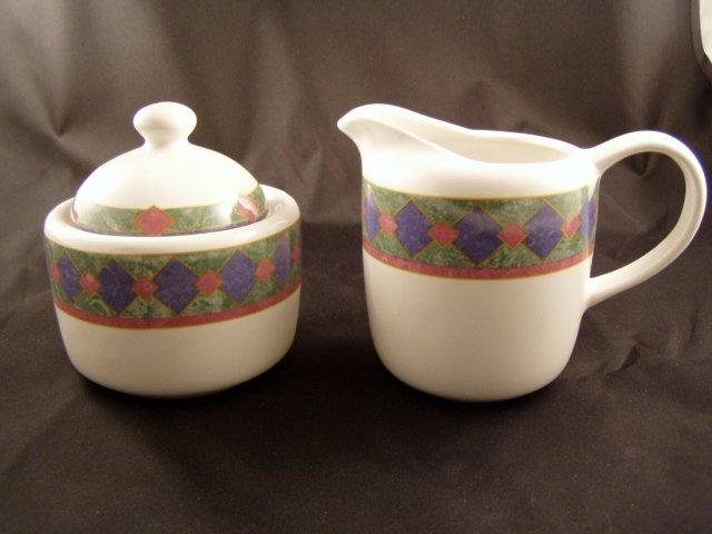 Pfaltzgraff Amalfi Mediterranean Creamer and Sugar Bowl