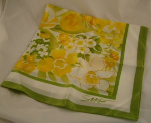 Vintage Avon Scarf Green Yellow Floral Signed S M Kent