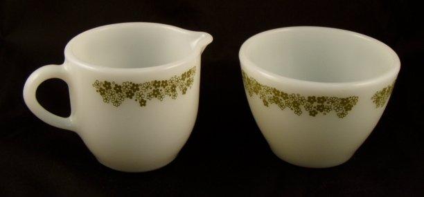 Corning Corelle Pyrex Crazy Daisy Spring Blossom Creamer & Sugar Bowl