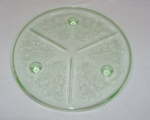 U S Glass Primo Paneled Aster Green Depression Glass 3 Footed Cake or Serving Plate