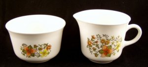 1970's Corning Corelle Indian Summer Creamer and Sugar Bowl