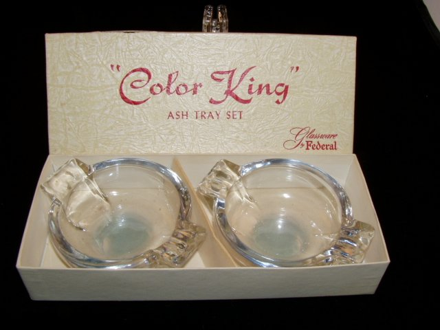 Federal Glass Ware Sapphire Blue Color King  Ash Tray Ashtray Set