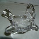 Large Old Clear Art Glass Bird Candy Nut Dish Bowl
