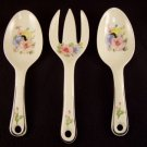 Harker Pottery Mallow Serving Salad Spoon Spoons and Fork Set of 3
