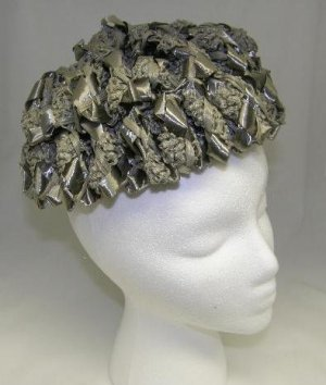 Vintage Ladies Womans 1950's Millinery Woven Ribbon and Straw Hat Gray