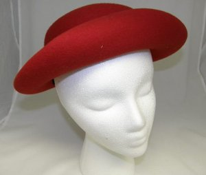 Vintage 1950's Bollman Red Wool Ladies Womans Hat with Brim