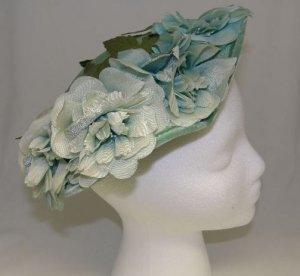 Vintage 40's Millinery Ladies Womans Aqua Light Turquoise Floral Church Easter Hat Wide Brim Flowers