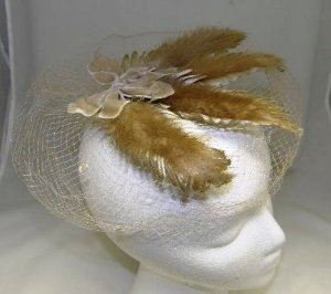 Vintage Millinery 40's Ladies Womans Beige Tan Veil Net Hat with Satin and Fur Union Made