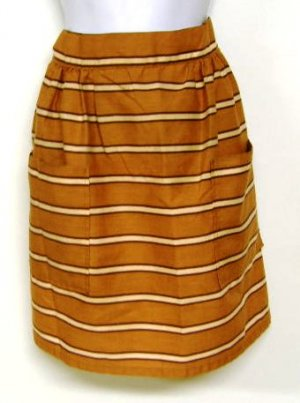 Older Rust Tan Brown Stripe Half Apron Cotton Blend