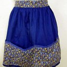 Vintage Hand Made Cotton Half Apron Royal Blue Flowers Floral