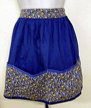 Vintage Hand Made Cotton Half Apron Royal Blue Flowers Floral