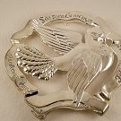 Christmas Holiday Silverplate Silver Plate Dove Trivet in Box