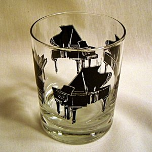 Albert Elovitz Grand Piano Double Old Fashion High Ball Glass