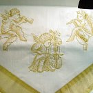Christmas Angel Table Runner & 2 Napkins White and Gold  NIP