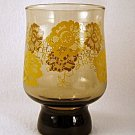 1960s 1970s Retro Libbey Glass Glasses Tumbler Tumblers Amber Yellow Flowers set of 3