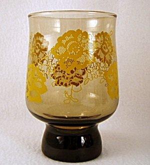 1960s 1970s Retro Libbey Glass Glasses Tumbler Tumblers Amber Yellow Flowers set of 3