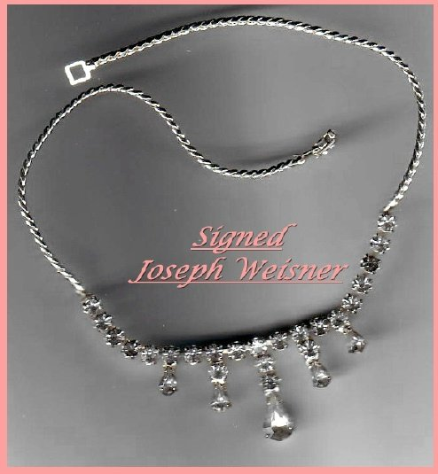 Signed JOSEPH WEISNER Necklace-Rhinestones-Beautiful