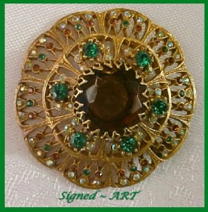 Designer Signed ART Brooch-Rhinestone-Large Dome-STyle