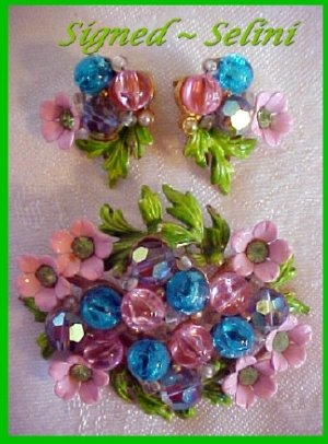 SELINI Floral DEMI PARURE-Pinks / Blues-Flower Garden