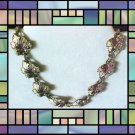 Vintage Pot Metal NECKLACE-Enameled Leaves-Chocker Style