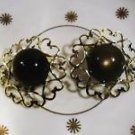 VINTAGE COSTUME JEWELRY CATS EYE EARRINGS CIRCA 1960'S