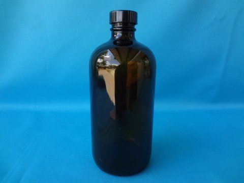 Qty(12) 16oz Amber Glass Boston Round Bottles With Blackk Polyseal Cap!