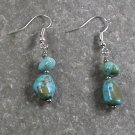 GREEN TURQUOISE STERLING SILVER EARRINGS