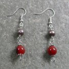 RED AGATE & FRESH WATER PEARL STERLING SILVER EARRINGS