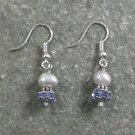 QUARTZ & FRESH WATER PEARL STERLING SILVER EARRINGS