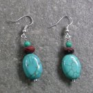 GREEN TURQUOISE & SNOWFAKE OBSIDIAN STERLING SILVER EARRINGS