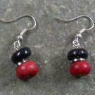 Coral Dark Blue Goldsand Stone STERLING SILVER EARRINGS