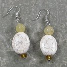 White Turquoise Quartz Jade STERLING SILVER EARRINGS