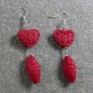 RED CINNABAR STERLING SILVER EARRINGS