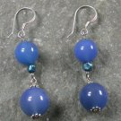 Blue Agate Pearl STERLING SILVER EARRINGS
