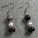 Black Agate Pearl STERLING SILVER EARRINGS