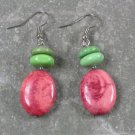 Pink and GreenTurquoise Sterling Silver Earrings
