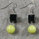 Black Agate and Lemon Jade Sterling Silver Earrings