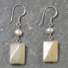 Yellow Jade Fresh Water Pearl Sterling Silver Earrings