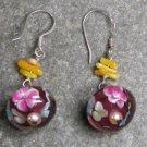 Coral Lampwork Pearl Sterling Silver Earrings