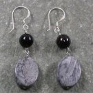 Black Agate Jasper Sterling Silver Earrings