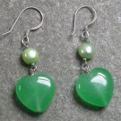 Green Jade Pearl Sterling Silver Earrings