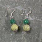 Lemon Jade GreenAgate Sterling Silver Earrings
