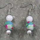 Jade Lampwork Pearl Sterling Silver Earrings