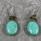 Turquoise Smoky Quartz Sterling Silver Earrings
