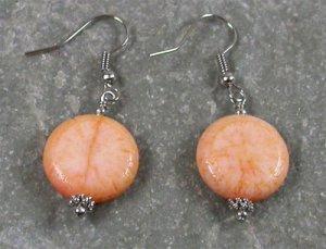 Orange Coral Sterling Silver Earrings
