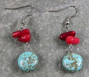 Turquoise Red Coral Sterling Silver Earrings